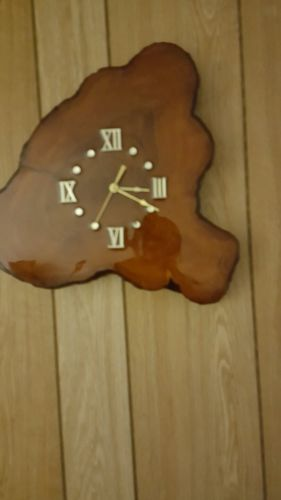 Vintage Tree Slab Wood Slice Wall Clock Beautiful Grain Rustic roman numerals