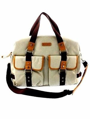 BODHI East West Beige Coated Canvas Tan Leather Trim Extra Large Tote $348. NEW