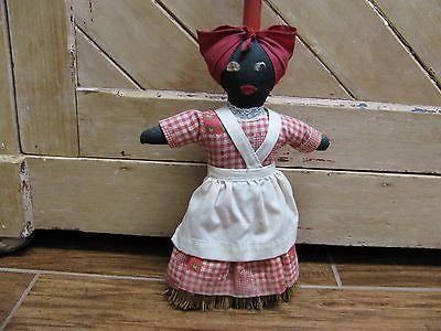 Vintage Mammy Broom Doll, Black Americana, Folk Art Cloth Doll Broom Cover