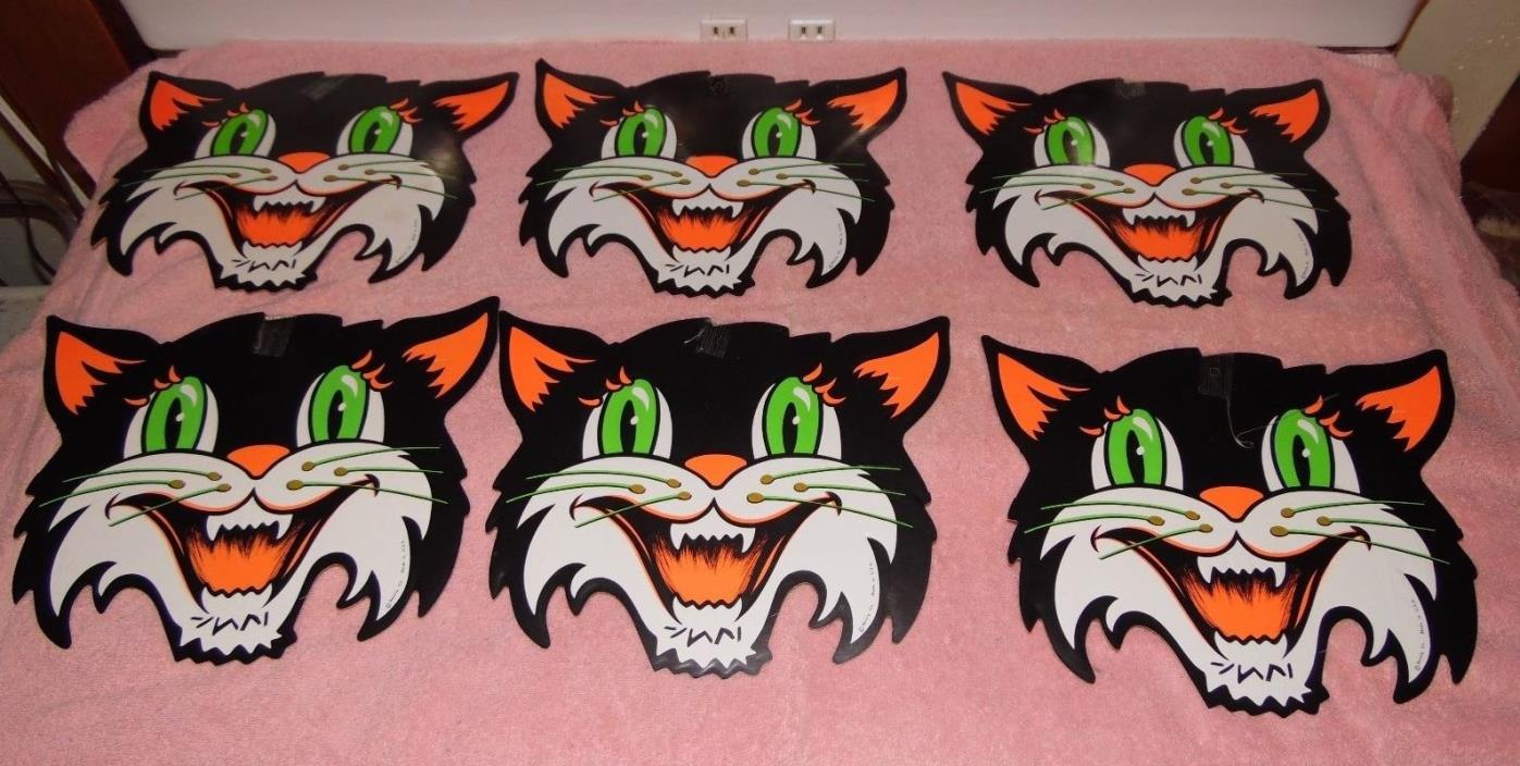 6 Vintage Beistle Die Cut Halloween Decorations - Black Cats