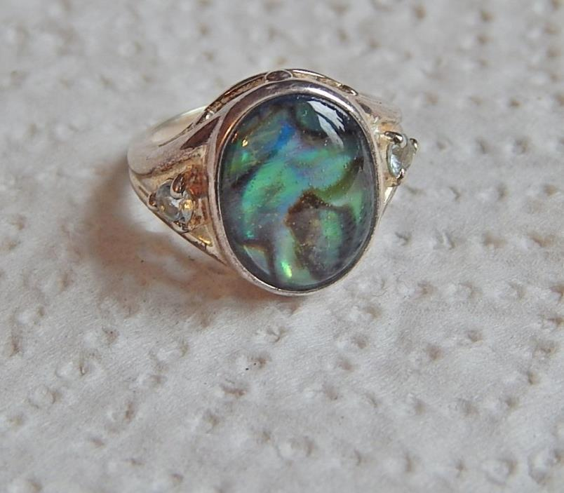 VINTAGE SIGNED AVON STERLING SILVER ABALONE SHELL RING