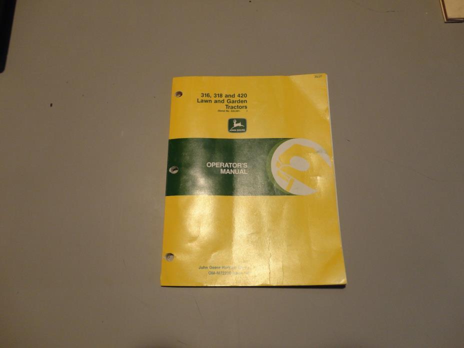 John Deere OMM72236 G6 316 318 420 Lawn And Garden Tractor Operator Manual