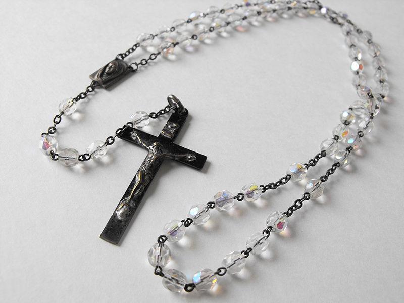 Vtg Aurora Crystal Bead Rosary w Patina'd Crucifix - ITALY *MM*