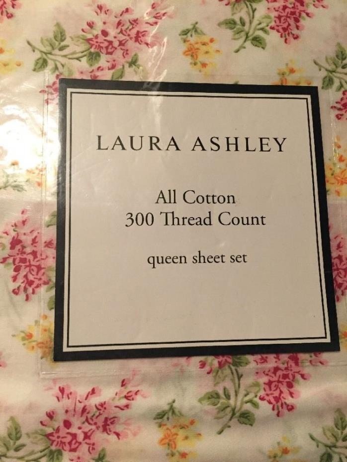 Laura Ashley Flower Sprig Pink White Green Sheet Set, Queen