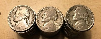 1943 War Nickel 35% Silver Roll 40 Coins FREE SHIPPING
