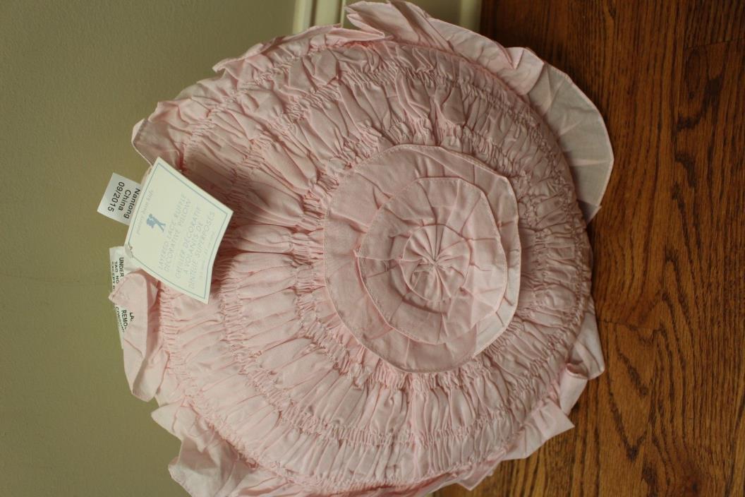 NWT Pottery Barn Kids Layered Lace pink ruffle decorative pillow