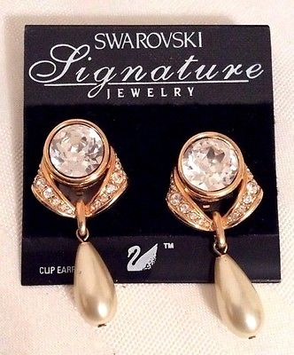 Signed Swarovski Clip Earrings Gold Plated Bezel Set Clear Crystals & Pearls