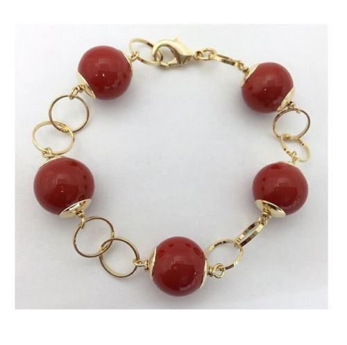 Red Coral Mallorca Pearl Bracelet Gold Plated Chain