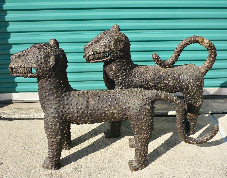 BENIN BRONZE LEOPARDS Pair African Animal Figure Cat Sculpture Statue Nigeria 3'