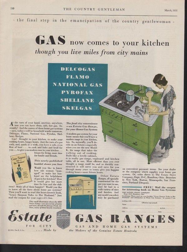 1931 ESTATE GAS RANGE COOK OVEN STOVE OIL BURN HAMILTON12761