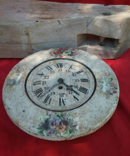 Rustic Vtg French Enamel Tin Wall Clock