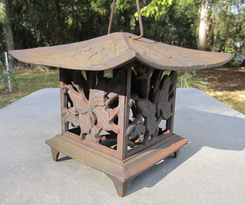 Vtg Cast Iron Japanese Pagoda House Lantern Rustic Butterflies Garden Patio Deco