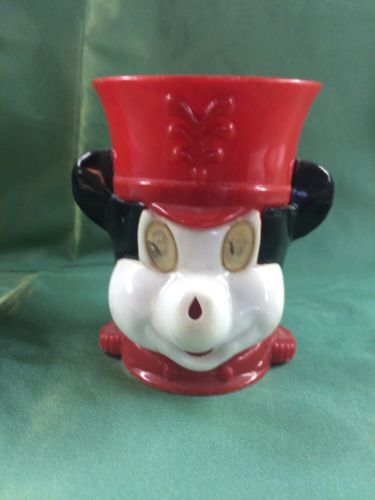 Vintage Walt Disney Productions Mickey Mouse Drinking Cup With Moving Eyes
