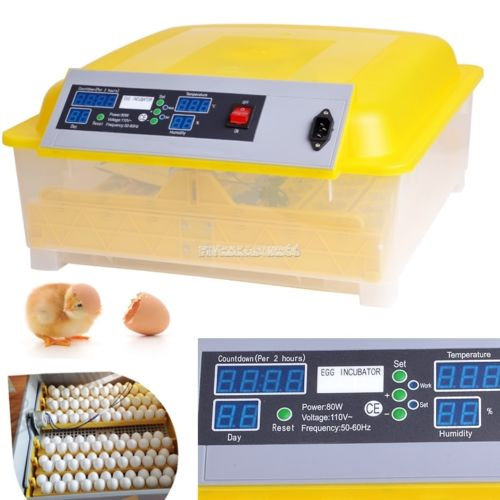 Digital Fully Automatic Egg Incubator Turner 48 Eggs Poultry Chicken Duck Bird