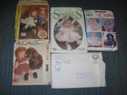 Vintage Lot 5 Doll & Doll Clothes Patterns Annie Raggedy Ann Andy