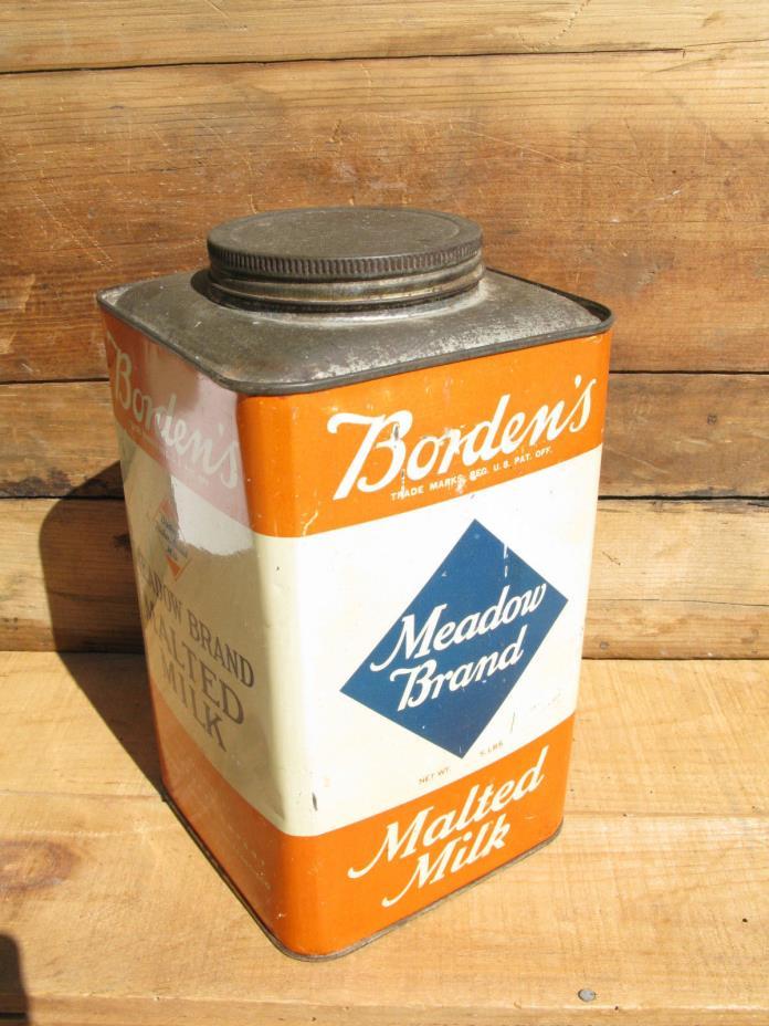 Vintage Borden's Meadow Brand Malted Milk Five Pound Tin Can