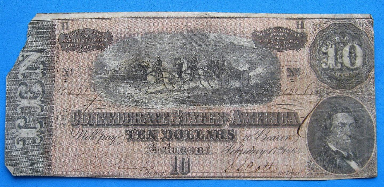 1864 $10 Confederate Civil War Richmond Ten Dollar Bill