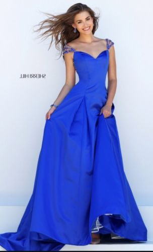Sherri Hill Prom Dress Gown Royal Blue Earrings Size 8 Beads 50229 2016 Wedding