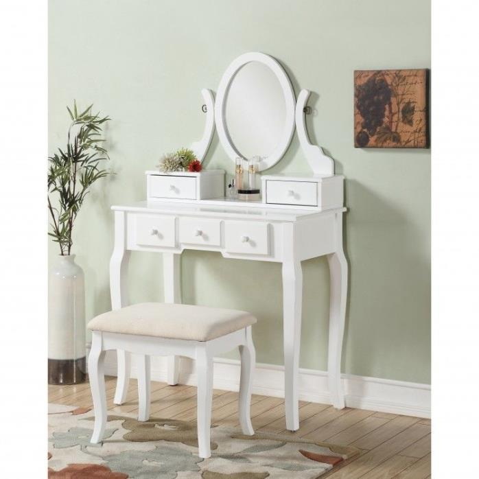 Bedroom Vanity Table With Stool Makeup 5 Drawer Dresser Mirror Bench Desk White
