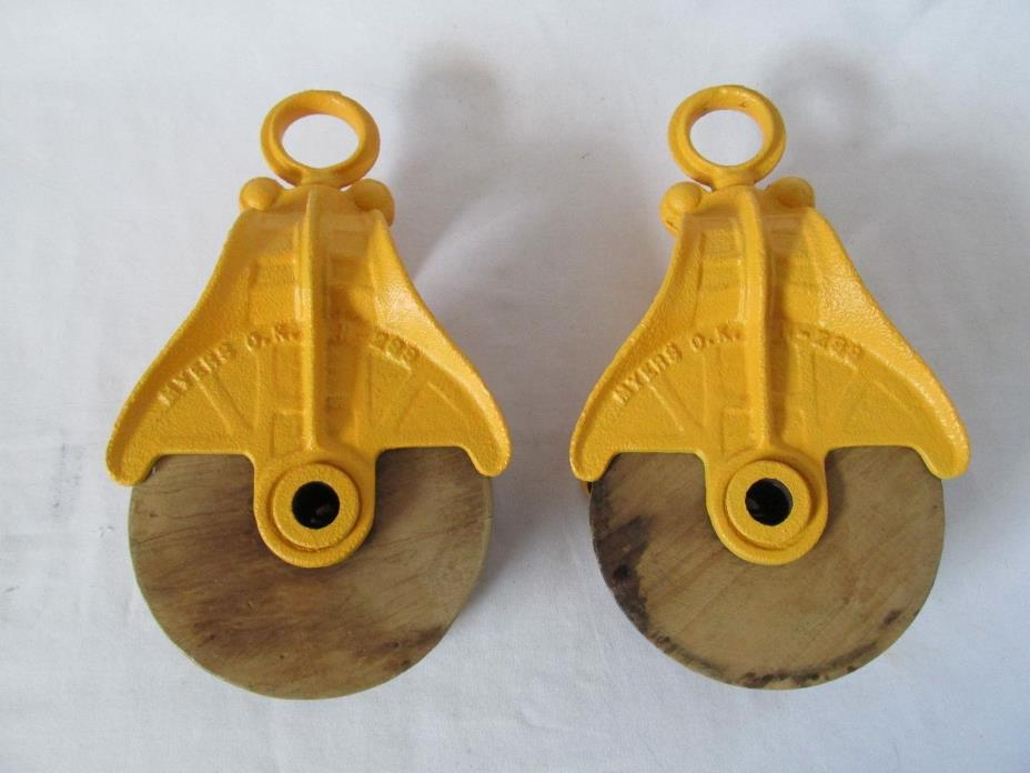 Set of 2 F.E. Myers Antique Barn Pulleys Painted Yellow/Orange Metal Wood