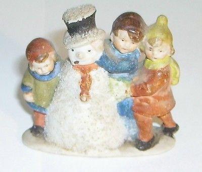 vintage bisque Children with Snowman Snow Baby type cake decoration