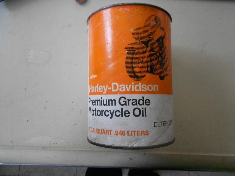 Harley Davidson Oil Can Full Quart Vintage Antique Motorcycle AMF Man Cave