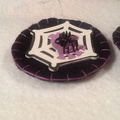 2 Halloween ornaments decorations spider black widow handmade