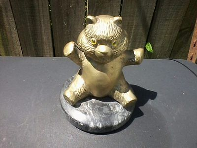 Vintage Heavy Brass Teddy Bear with glass eyes on round marble base 5