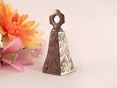 Brass Bell Greek Cross Hexagon Dinner Bell Antique 1930's Home Decor Collectible