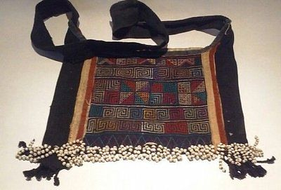 Antique Chinese hand embroidered Miao bag with bead work