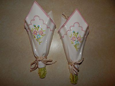 Wall Flower Vases - Handkerchief Design Pink Flowers Bathroom Wall Decor