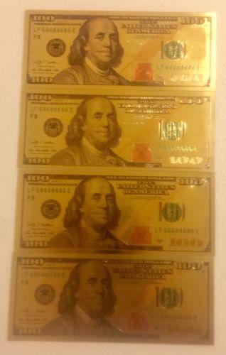 24 K GOLD Plated (1) $100 Dollar Bill 2009 Series