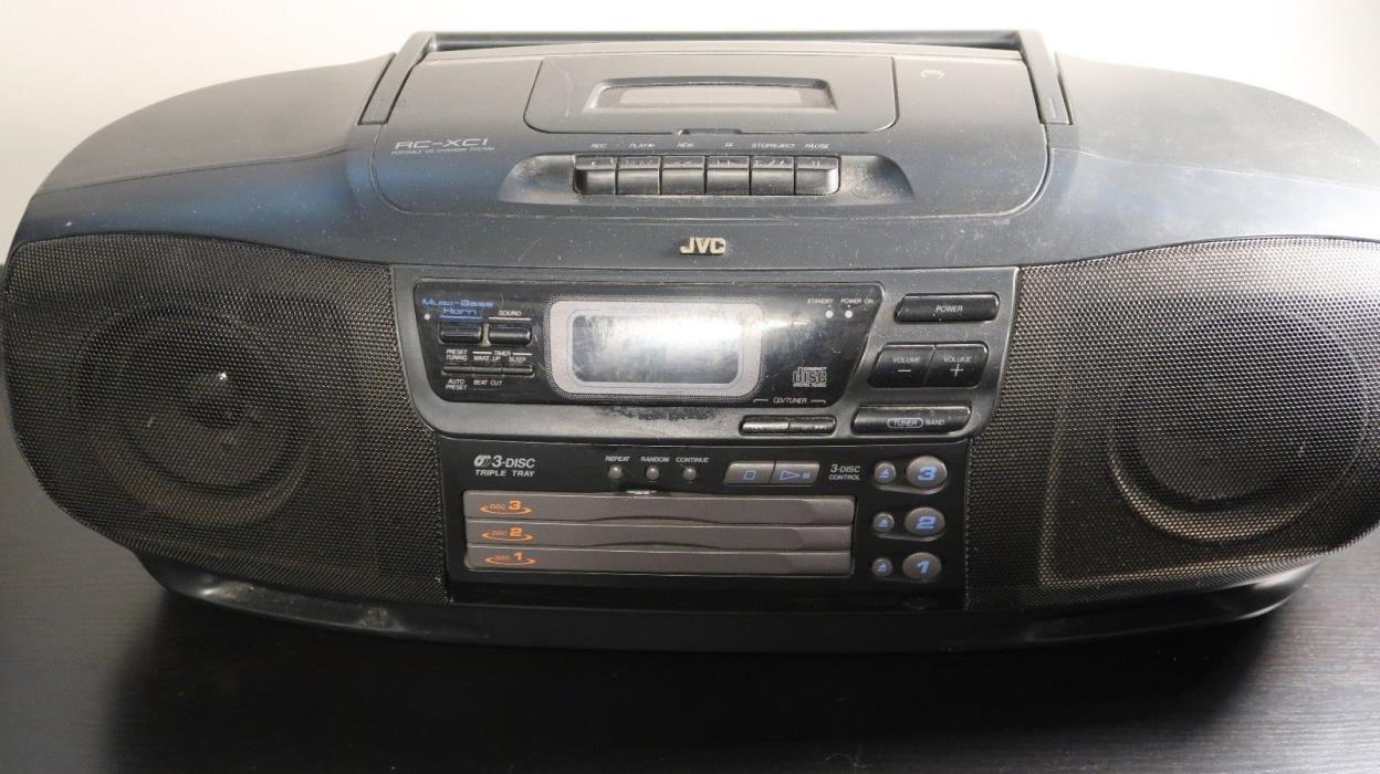 JVC Portable CD Boombox RC-XC1 3 CD Disc Changer AM/FM Cassette Tape Works!