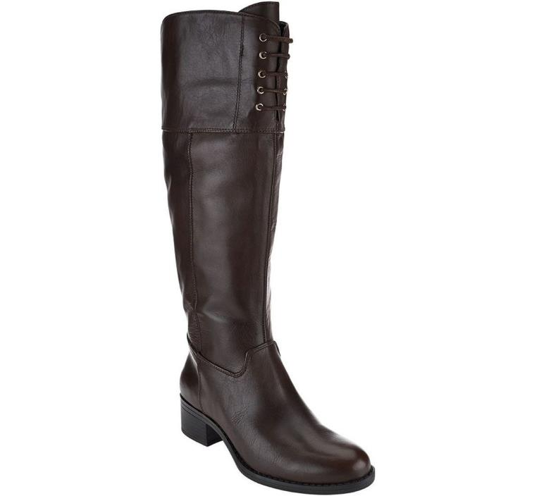 Isaac Mizrahi Wide Calf Leather Riding Boots Zip Lace Espresso 8.5W NEW A269793