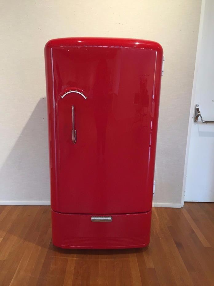 Refurbished Retro Gibson Refrigerator in Fire Engine Red for Man Cave, She Shed