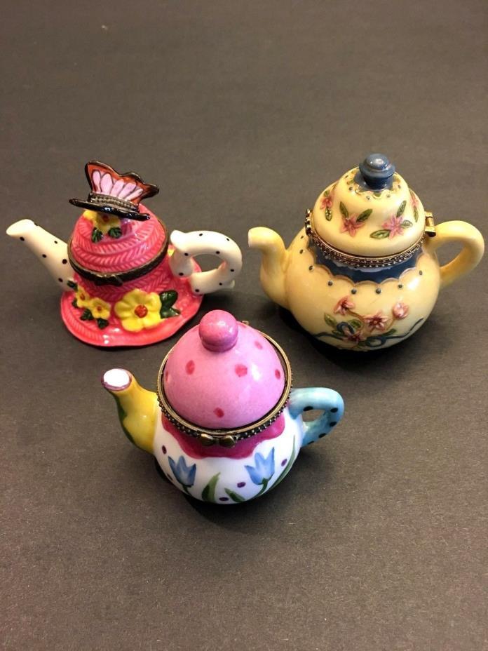 Trio of Minature Decorative Teapots