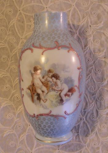 Antique Cameo Glass Vase Cherubs Putti Blue with Gold Accents