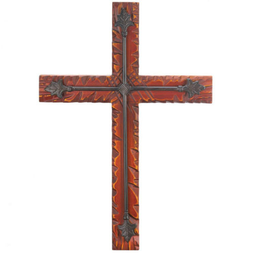 Iron and Wood Wall Cross Inspirational Religions Christian Gifts Decor