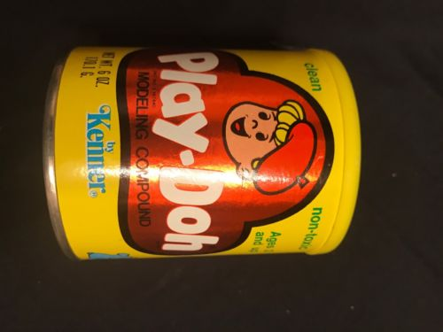 Vintage•Play-Doh Can•1978•by Kenner•Cardboard Container•Yellow•Empty