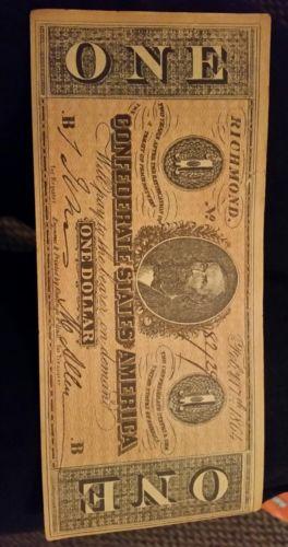 Confederate one dollar bill