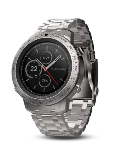 New-In-Box! Garmin Fenix Chronos Steel GPS Athlete Watch Brushed Stainless Band