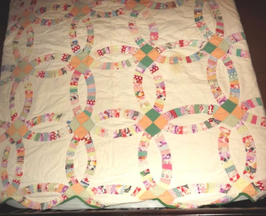 Vintage Quilt Wedding Ring Quilt Hand Quilted 1930's 1940's Fabric SALE