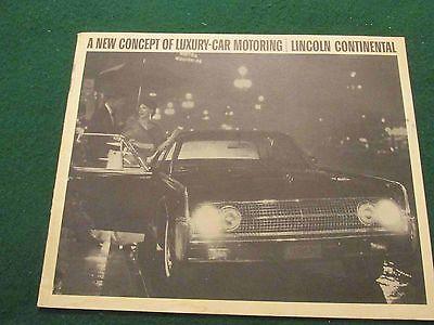 1963 Lincoln Continental B&W 22-Page Sales Catalog: Original Not a Reprint-RARE!
