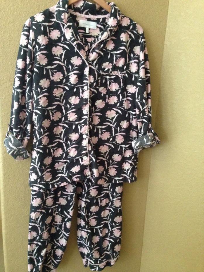 VICTORIA'S SECRET Flannel Black Pink Glitter Floral Pajama Set PJs 2 Piece Sz M