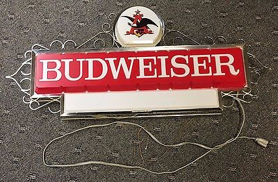 RARE VINTAGE 1960's BUDWEISER LIGHTED SIGN OLD SPOT FOR LOGO OR NAME OF MANCAVE