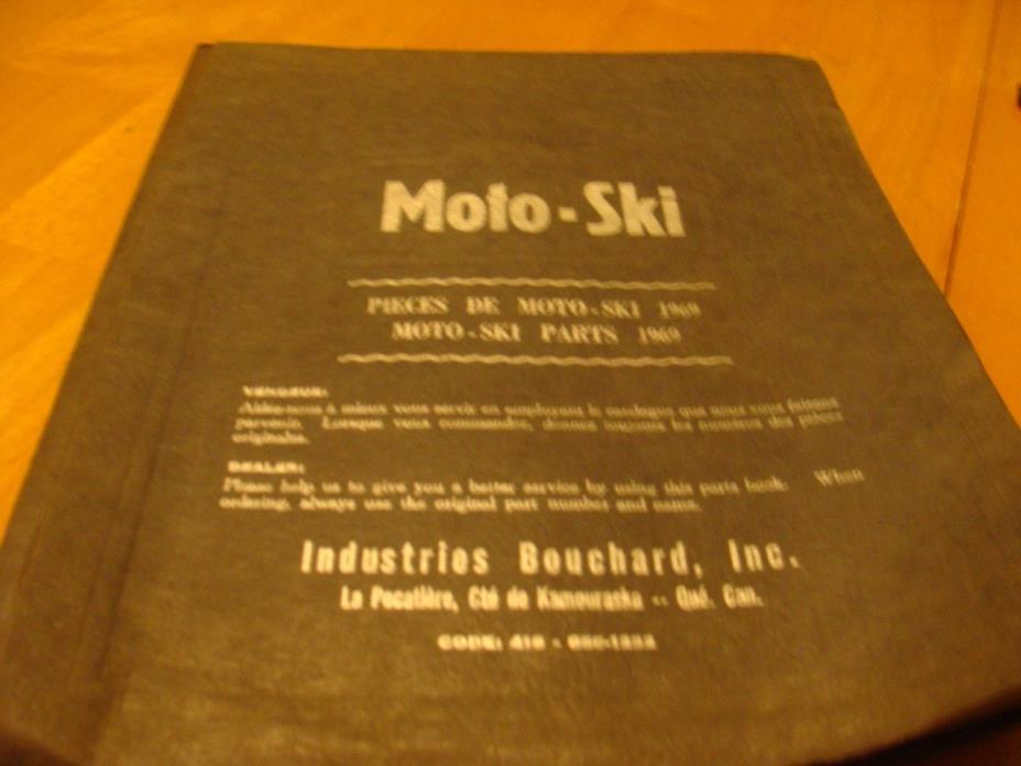 VINTAGE MOTO-SKI SNOWMOBILE PARTS BREAKDOWN 1969