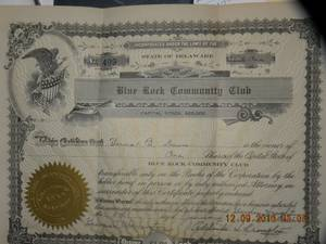 vintage 1942 common stock certificate (ne phila fox chase)