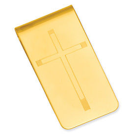 Gold-plated Cross Engravable Money Clip - .2 Grams