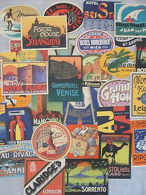 Gaston-Louis Vuitton Travel Hotel Label Collection Lot of 30 Postcards Authentic