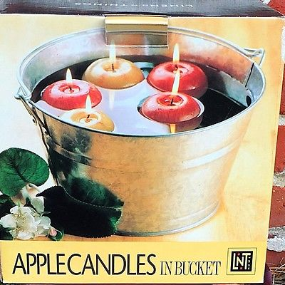 Linens N Things Apple Candles in Galvanized Bucket